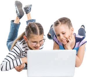 Two girls on laptop